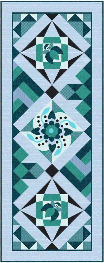 Blue Flower table Runner Quilt classes for beginner quilters
