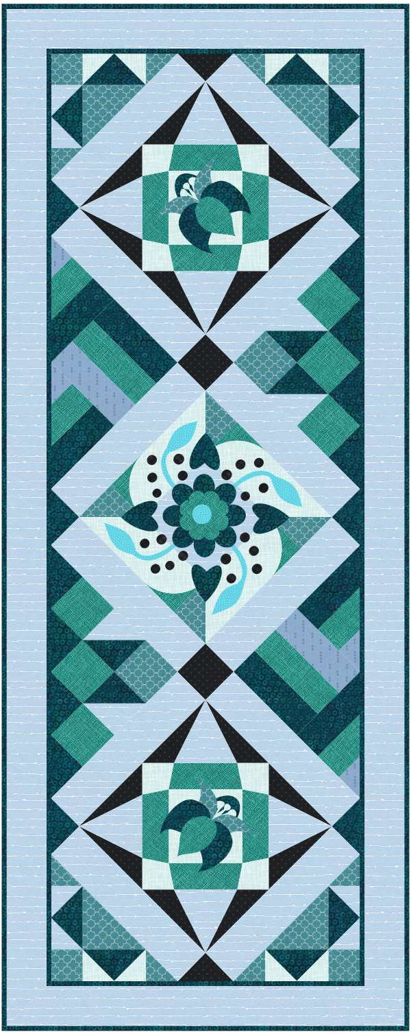 Blue Flower table Runner Quilt classes for beginner quilters